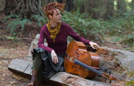 Cellist Zoe Keating in a redwood grove near Occidental, California