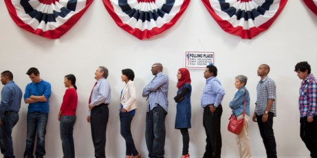 voters waiting in line